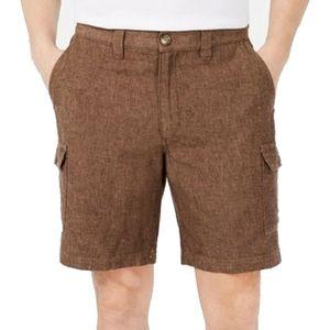 NWT Tasso Elba Brown Linen Cotton Cargo Shorts